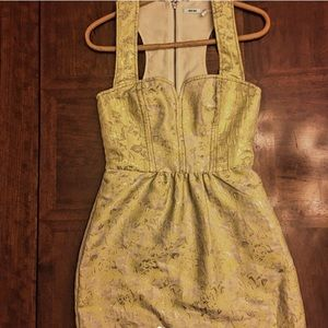 Jacquard Patterned Yellow Dress, worm only once